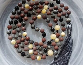 Protection & Perseverance Mala. Meditation Mala. Beaded Mala. Buddhist prayer beads. 108 knotted Mala. Mala beads.