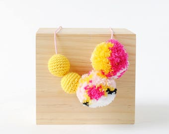 Yellow Mosaic Pompom Crochet Necklace | Fun & Bright Womens and Girls Necklace, Crafty Necklace, Pom Pom Necklace, Crochet Necklace