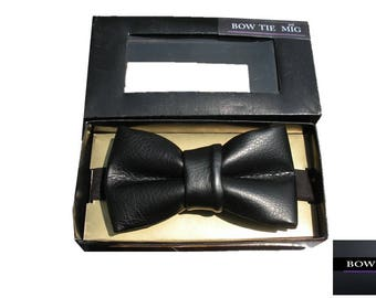 Bow tie Leather black, Bow tiene for men, women, children, casual bow tie, weddings bow tie,