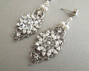 Bridal Pearl Earrings Chandelier Earrings ivory swarovski pearl Statement bridal earrings Pearl Bridal Earrings wedding earrings RAE