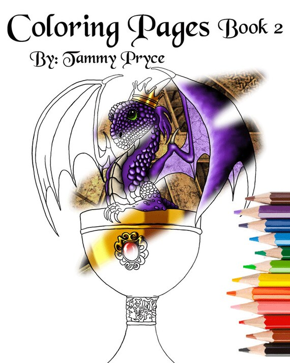 fantasy art coloring book 2 with dragons mermaids fairies adult coloring pages kids coloring pages from tammypryce on etsy studio - Adult Coloring Books 2