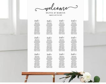 Seating Chart Template, Instant Download, Printable Seating & Table Plan, 100% Editable, Modern Calligraphy, Wedding Welcome Sign #030-212SC