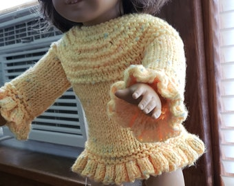 Hand Knitted Yellow Ruffled Sweater for 18 inch Dolls