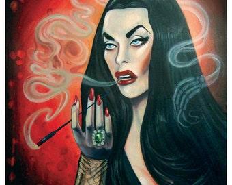 """Vampira tribute """"Cemetery Smoke"""" 8.5 """" x 11"""" poster"""