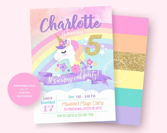 Unicorn Invitation, Unicorn Birthday Invitation, Unicorn Party Invitation, Magical Unicorn Party, Rainbow Unicorn Invitation, Unicorn Invite