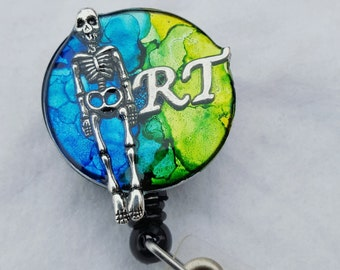 Radiology tech name badge holder with a blue/green background and skeleton detail