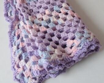 1 Pastel Crochet Afghan Baby Blanket - Girls Princess Lap Blanket, Pink Blue Purple White Gender Neutral Nursery Decor, Mermaid, Lightweight
