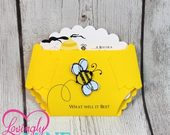3D Bumble Bee Diaper Invitations - Gender Reveal, Gender Unknown in Yellow - Set of 10 - Bee Hive, Yellow, Black, White, Gender Neutral