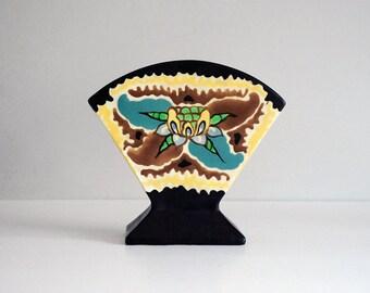 1930s Czech Pottery, Gouda Style Vase, Czechoslovakia Fan Vase, Vintage Arts and Crafts Decor, Floral Black Yellow, Ceramic Art Pottery