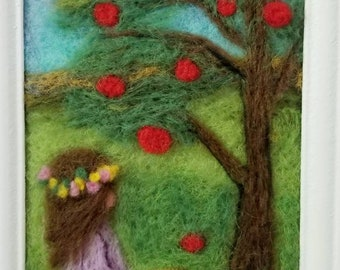 Needle felted picture,3D wool painting.