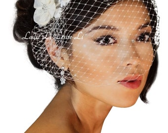 Leslie Li's Women's Bridal Birdcage Veil with Vintage Style Lace Applique New 23-117