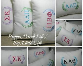 "Monogrammed Sorority Pillow with INSERT Lumbar 8""x12""/ Big Little Gift/Sorority Gift/Preppy"