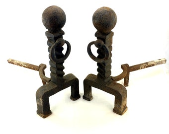 """Vintage Cast Iron Ornate Andirons Set Mid Century Firedogs For Fireplace Big 17"""""""