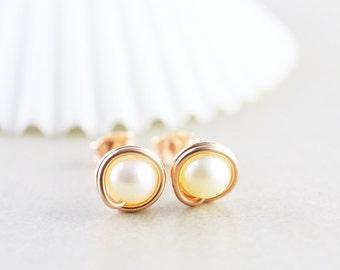 White Pearl Studs, Rose Gold Earrings, Pearl Posts, June Birthstone, Bridesmaid Gift