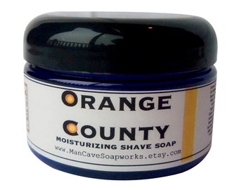 SHAVE Soap in a Jar - ORANGE COUNTY - Wet Shaving with Bentonite Clay and Shea Butter by Man Cave Soapworks