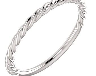 14k White Rope Design Band Trendy Stacking Ring