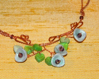 Aqua Luster Three-Petal Flowers and Emerald A/B Leaves, Czech Glass on Squiggly Copper Wire, Copper Chain Necklace