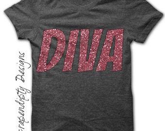 Diva Iron on Transfer - Girls Iron on Shirt PDF / Kids Girls Clothing / Diva Iron on Patch / Tween Girl Clothes / DIY Tshirt Iron on IT147