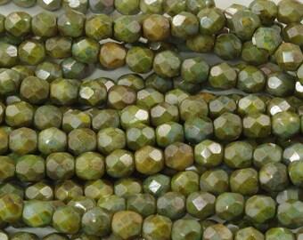 Green Luster Picasso Czech Glass Fire Polish Beads 6mm - 25