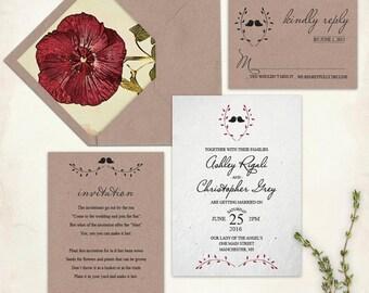 Kraft Paper Wedding Invitation Set With Beautiful Botanical Floral Envelope Liner, Christmas Wedding Invitation Set