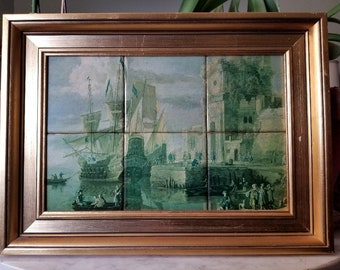 "Gold Framed Spanish Tiles - ""The Seaport"" by Jan Peters (1624-1677) - Prcelli"