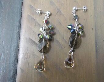 Gemstone Dangle Earrings Smoky Quartz Swarovski Drop Crystals Sterling Silver Posts