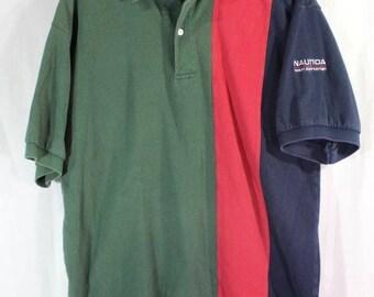 Vintage Nautica Ocean Sportsman Color Block Polo Collared Shirt Large