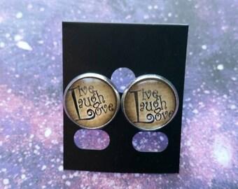Live Laugh Love Studs, 14mm round studs, Cabochon Studs, inspirational jewelry