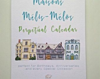 A5 Perpetual Birthday Calendar, Maisons Mélis-Mélos Illustrations