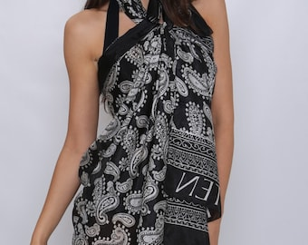 LAST ONE *********Anouszka Pure Silk Ladies Chic Beach Sarong and Pareo in Black and White Unique Design