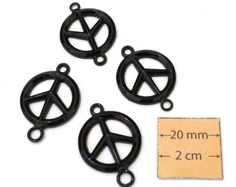 Black Metal 28mm x 20mm Round PEACE SIGN Connectors, Set of 4, 1025-19
