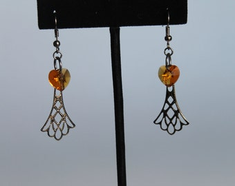 Topaz Heart Swarovski Crystal Earrings and Gunmetal Filigree Dangles