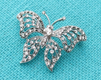 Rhinestone Butterfly Brooch, Silver Crystal Rhinestone Brooches, Bridal Brooch, Bouquet Brooches, Butterfly Brooches, Diamante Butterfly Pin