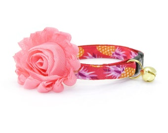 "Tropical Cat Collar + Flower Set - ""Pineapple Berry"" - Hawaiian Red Cat Collar w/ ""Coral Pink"" Flower -Detachable / Summer / Cat & Small Dog"