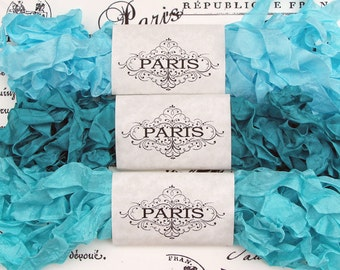 Seam Binding Ribbon, Shabby Crinkled Blue, Turquoise,Emerald,Rayon Ribbon, French Vintage,Scrapbooking, Doll Bear Making,Celestial Dreams