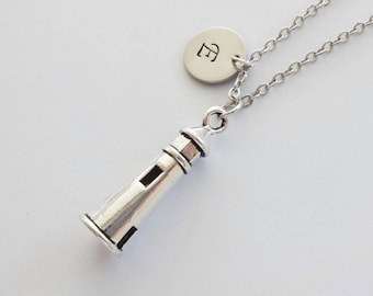 Lighthouse Necklace, House Light Charm, Beacon, Navigator, Friend Birthday Gift, Silver Jewelry, Personalized, Monogram, Hand Stamped Letter