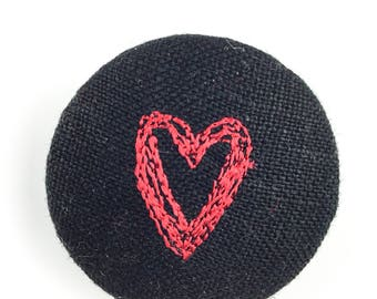 Fabric heart brooch, freemotion embroidery brooch, heart embroidery, button brooch,over to you, gift for her