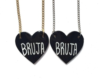 CLEARANCE! LAST ONE! Bruja (Witch) Black Heart Charm Necklace (Choose: Silver or Gold Chain)