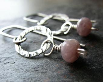 Lavender Dream Earrings - handmade silver earrings with lepidolite - hammered silver