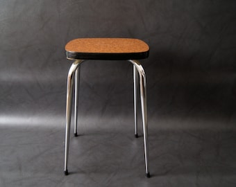 Stool mid century made of chrome and Resopal in brown black. Kitchen stool, stacking stool