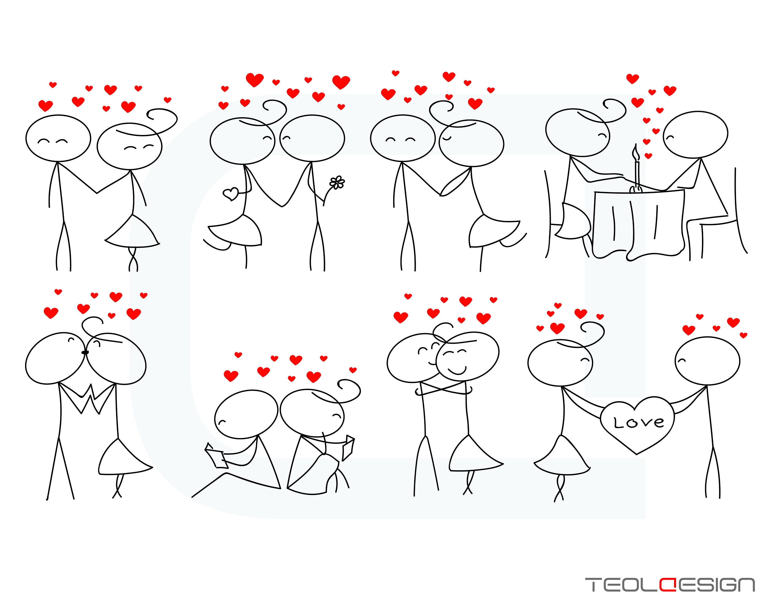 Stick Figure Wedding Invitations: EPS PNG Stick Figure Valentine's Day Valentine People Love