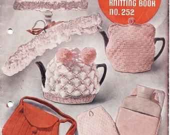 Patons 252 Knitted Tea Cozies Bags Novelties Vintage Knitting Patterns Book 1950s ORIGINALS NOT PDF