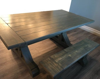 Farmhouse Dining Table. Rustic Solid Pine Wood. Kitchen Table. Dining Table. Outdoor Table. (Local Pickup/Delivery Only)