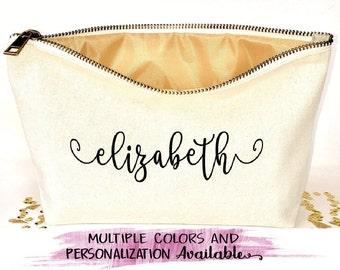 Personalized cosmetic  bag- Canvas cosmetic bag- bridesmaid gift- Wedding favors- Bridal gift - Zipper pouches - Weddings