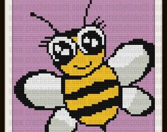 Happy Bee Kids Afghan, Bumblebee, C2C Graph, Written Word Chart