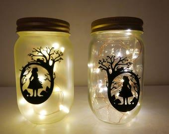 Alice in Wonderland Mason Jar Night Light