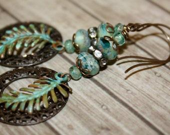 Artisan jewelry, Verdigris earrings, Vintaj jewelry, Patina jewelry, Green blue earrings