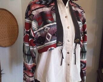 Vintage RoughRider Western Button Up Women's Shirt ~ Aztec Southwestern Print Size Medium