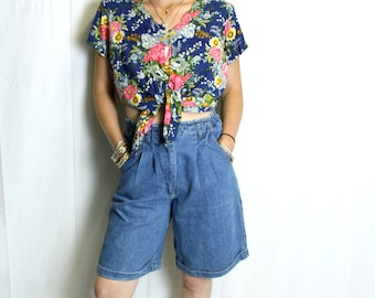 Raw blue vintage denim shorts high waisted