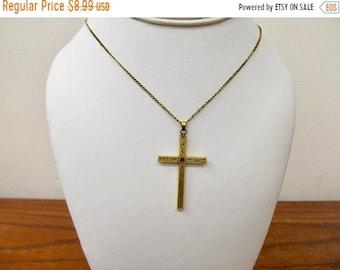 On Sale Vintage Etched Gold Filled Cross Necklace Item K # 771